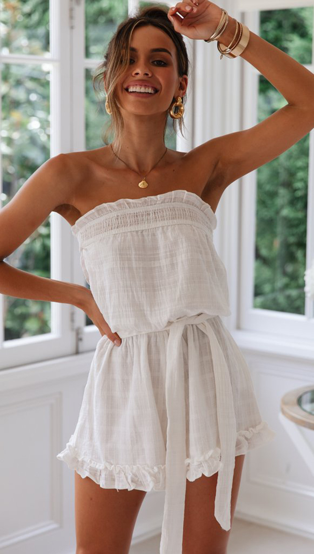cotton and linen series ruffled chest strap jumpsuit shorts wholesale NSDF123