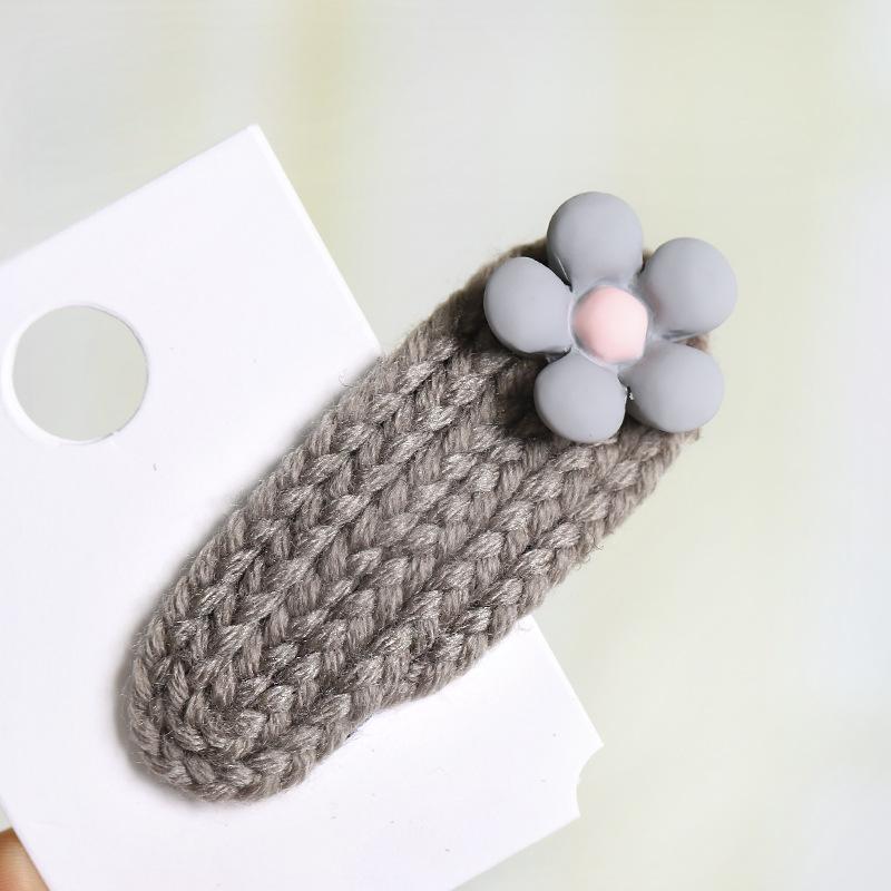 Korea ins girl wind mini flower wool woven hairpin NHOU146165