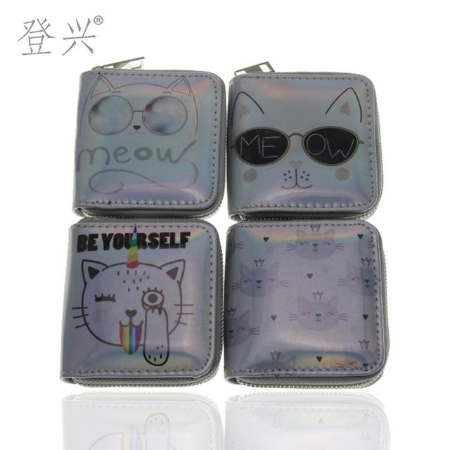新款猫猫女镭射PU短款拉链小钱包 卡通眼镜卡包来图定制厂家批发