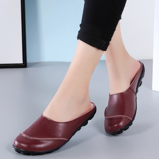 Mom sandals and slippers summer leather shoes, peas slippers, women's half slippers, soft bottom, comfortable flat bottom, middle and old pregnant women shoes