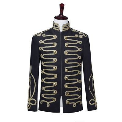 men's jazz dance suit blazers Men court dress with black gold zipper