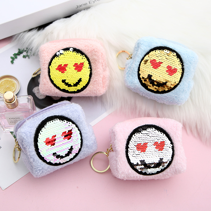Fashion student cute eyes plush sequin expression cartoon storage coin purse wholesale NHAE248008