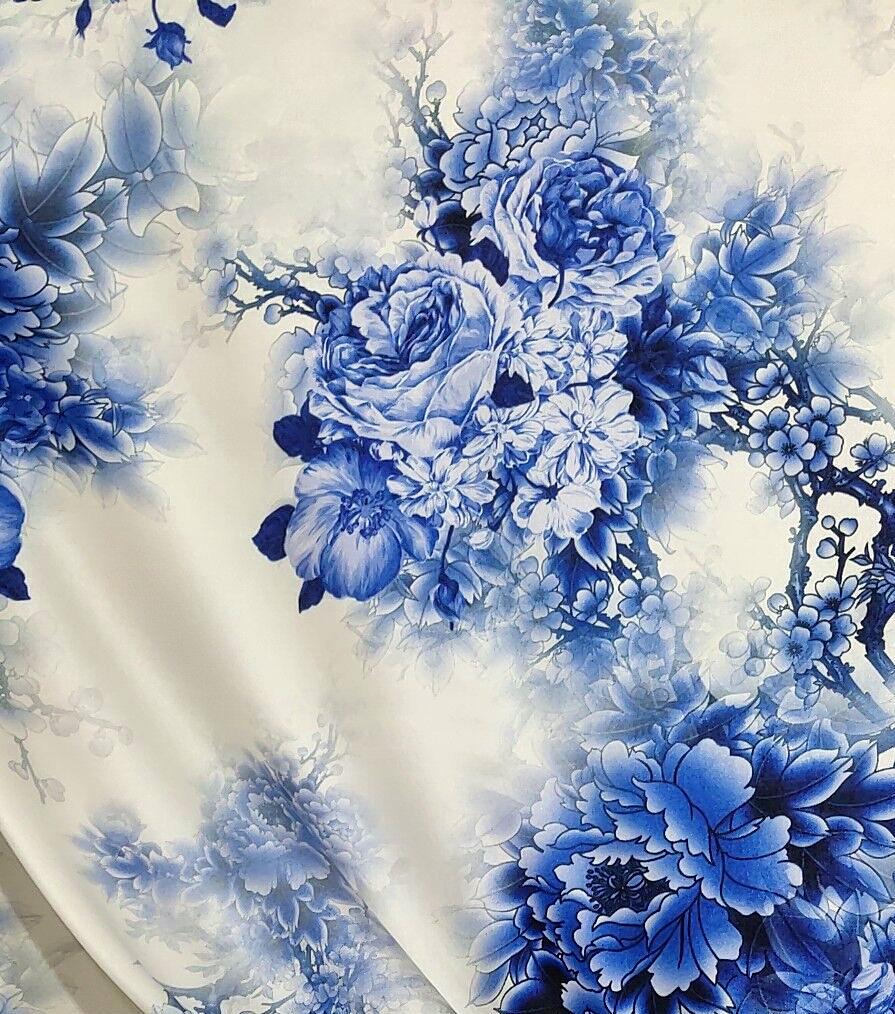 青花瓷真丝弹力缎数码喷绘丝绸面料19姆米旗袍连衣裙衬衣上衣布料