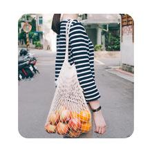 欧美流行便携亲肤全棉网布手提购物袋潮流速拿一袋全包网兜袋外袋