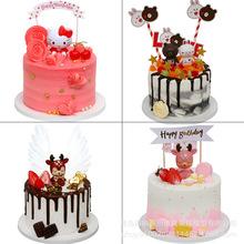 新款仿真生日蛋糕模型KT猫布?#24066;?#20799;童卡通个性流行塑胶模具可批发