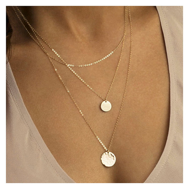 Multi-layer stainless steel necklace female geometric round pendant 316L jewelry NHTF175315