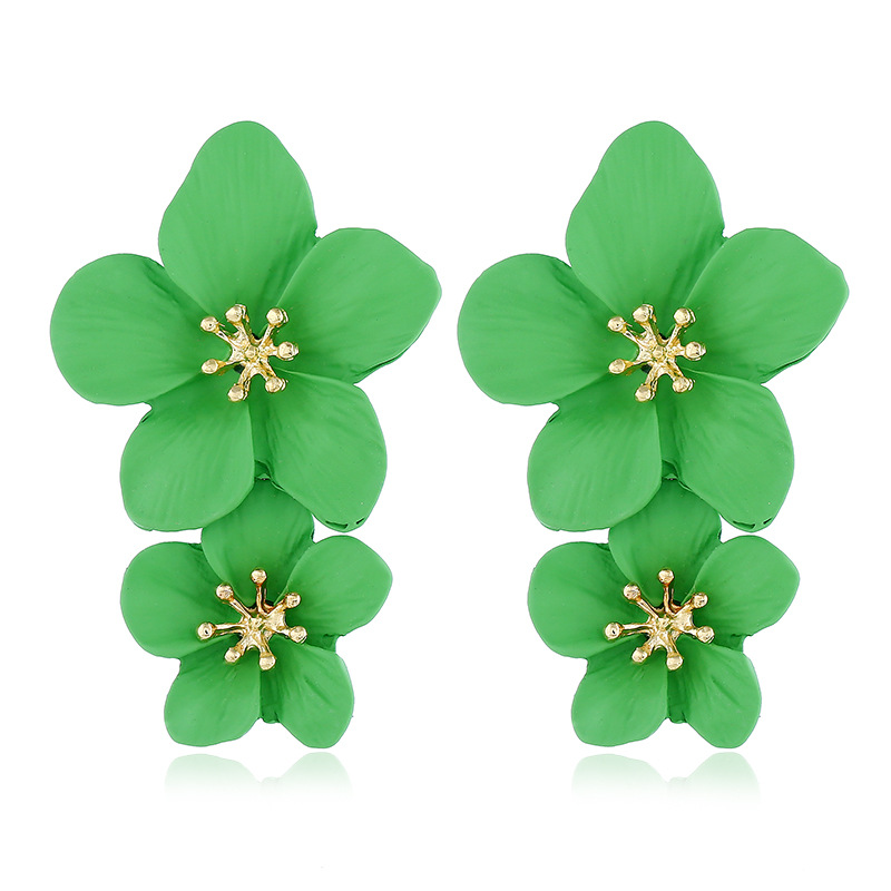New Fashion Multicolor Flower Alloy Painted Stud Earrings NHVA199499