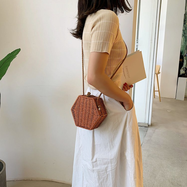 Retro straw bag summer new Korean  hand-woven beach bag fashion lightweight shoulder Messenger bag NHGA200634