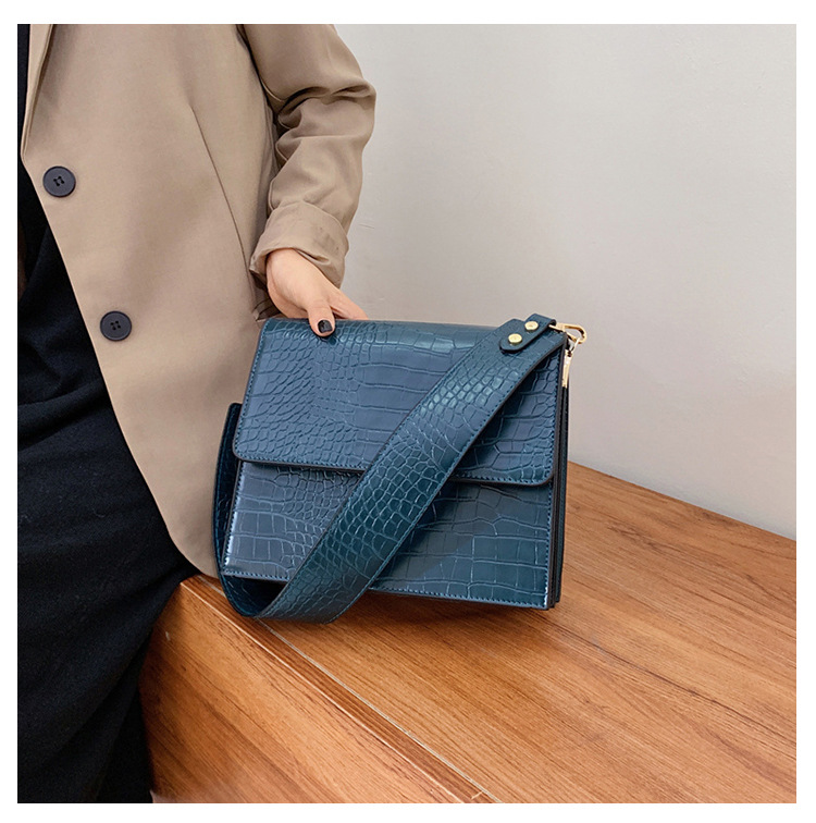 simple stone pattern broadband shoulder small square bag NHLH364785