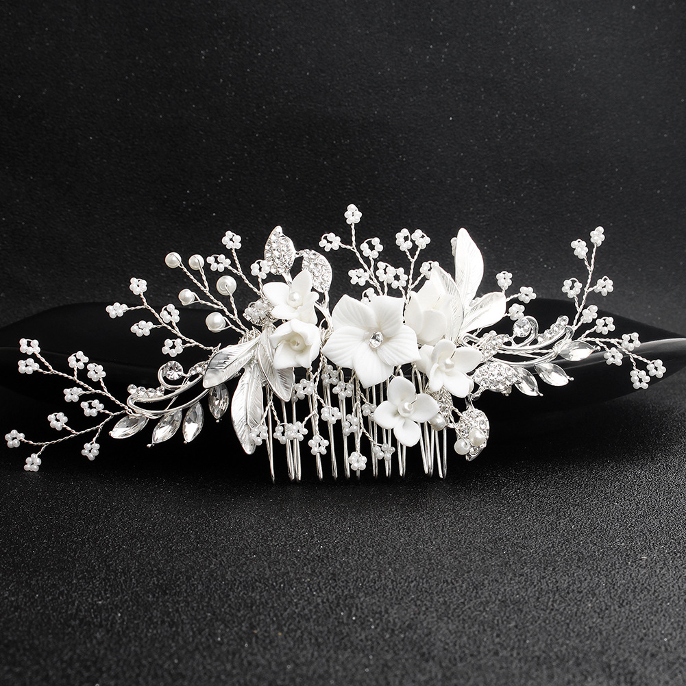 Womens floral electroplated beads Comb HS190423118894