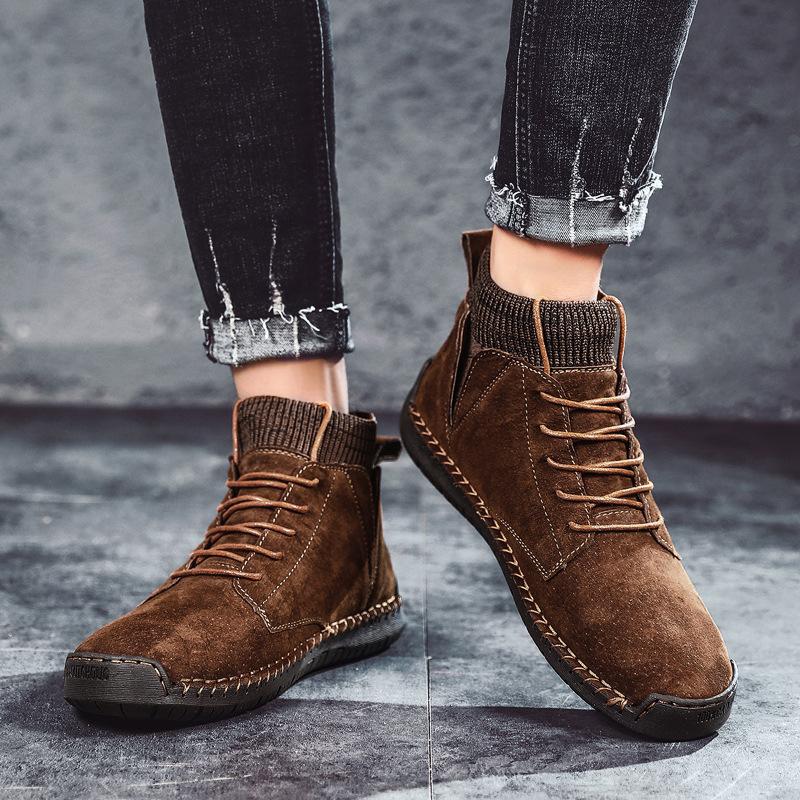 7009马丁靴潮男复古作战靴绒面男士休闲单鞋透气袜口机车工装皮鞋