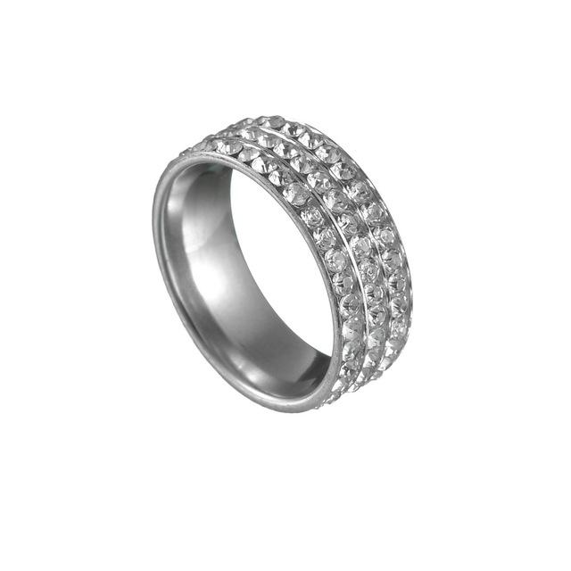 Nhẫn bằng thép không gỉ khoan hai hàng đầy đủ ba màu với kim cương Nhẫn