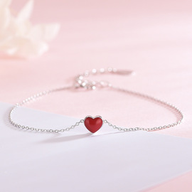 S925 sterling silver necklace  red love drip fresh pink heart clavicle chain sweet cute set of four sets of chain