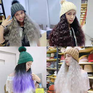 Korean version of the new hot wig one net red same paragraph long hair wig fisherman hat natural volume big wave hedging