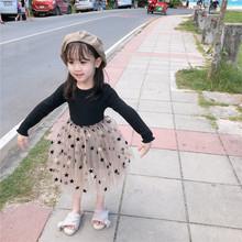 2019新款女童秋季連衣裙 中小童拼接公主蓬蓬裙紗裙 童裝一件代發