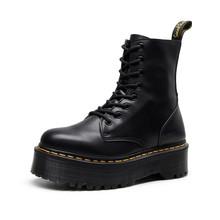 2019秋冬加絨牛皮切西爾靴厚底拉鏈馬丁靴女大碼英倫1460休閑短靴