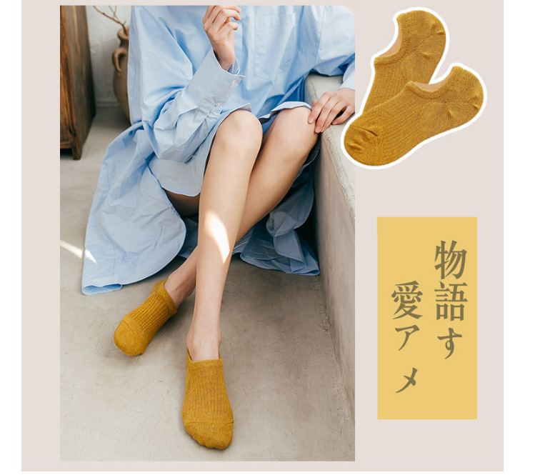 New spring new invisible socks ladies low-top shallow mouth boat socks solid color socks NHER206452