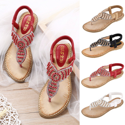 Diamond pearl women shoes pure clip toe elastic band sandals large size women sandals