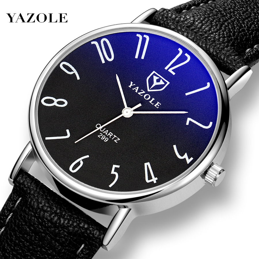 Yazole299 Korean Waterproof Business Belt Watch Men's Classic Couple Men And Women Watch Thin Section Blu-ray