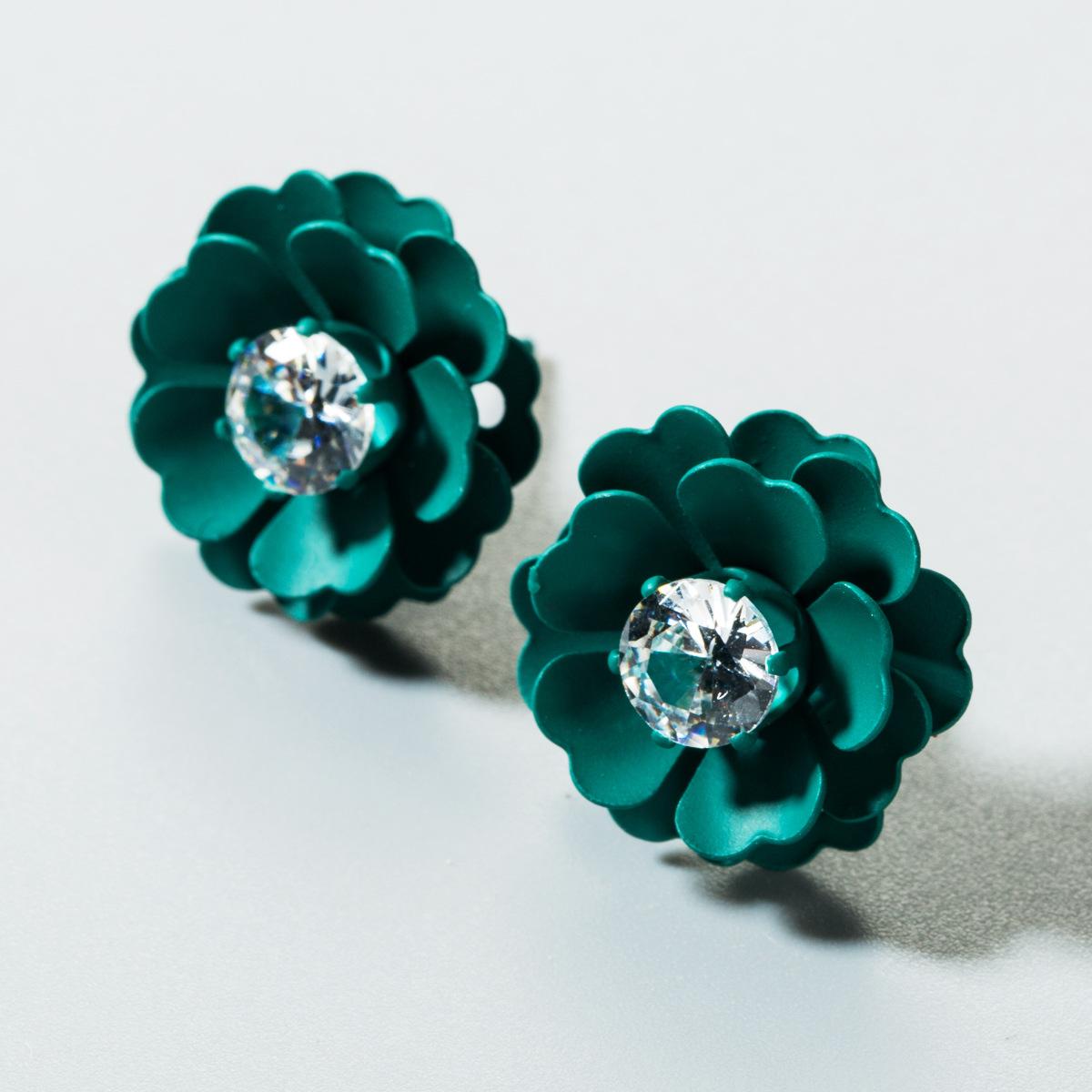 Korean sweet color flower earrings NHLN151596