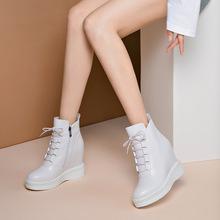 馬丁靴女系帶2019冬季32/32小碼超高跟短靴內增高厚底坡跟真皮靴