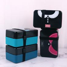 便携式双层饭盒保鲜盒 食物收纳防尘午餐盒 带餐具套装多层便当盒