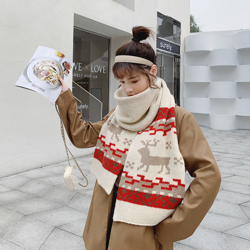 Winter knitted warm wool scarf shawl couple soft sister student Christmas fawn gift scarf NHTZ186271