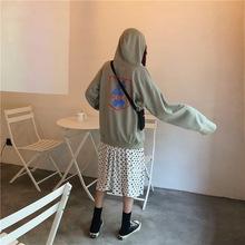 韩国秋季新款学院风小熊印花帽衫薄款套头卫衣