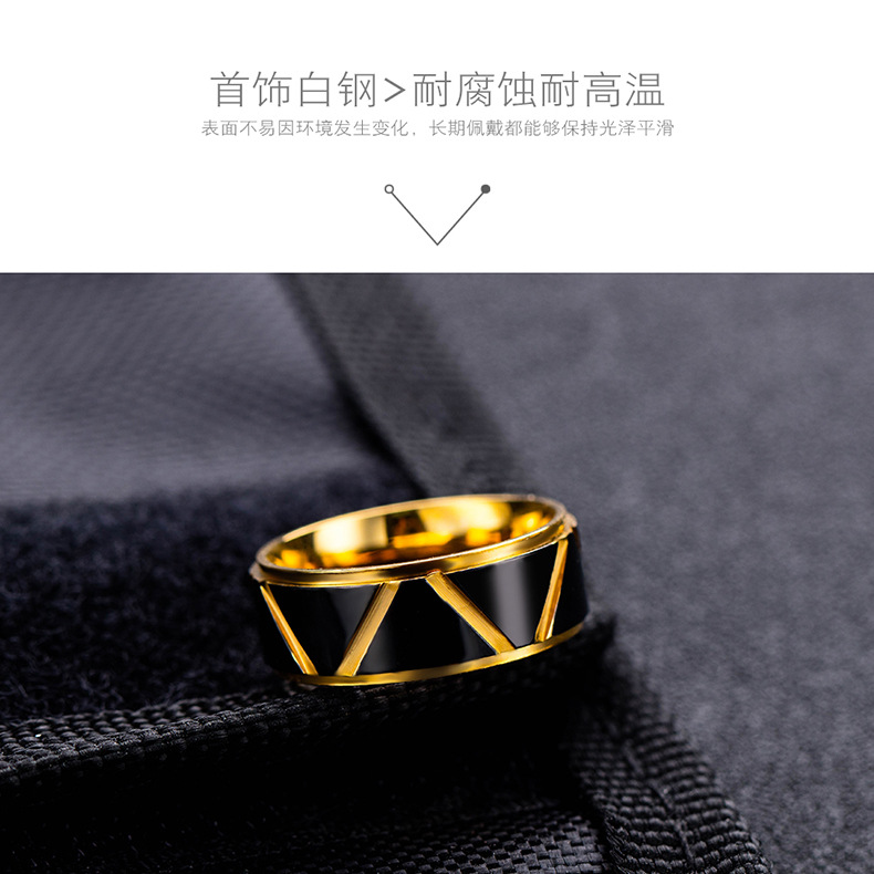 black gold gold  tide male ring men titanium steel ring wholesale nihaojewelry NHOP222205