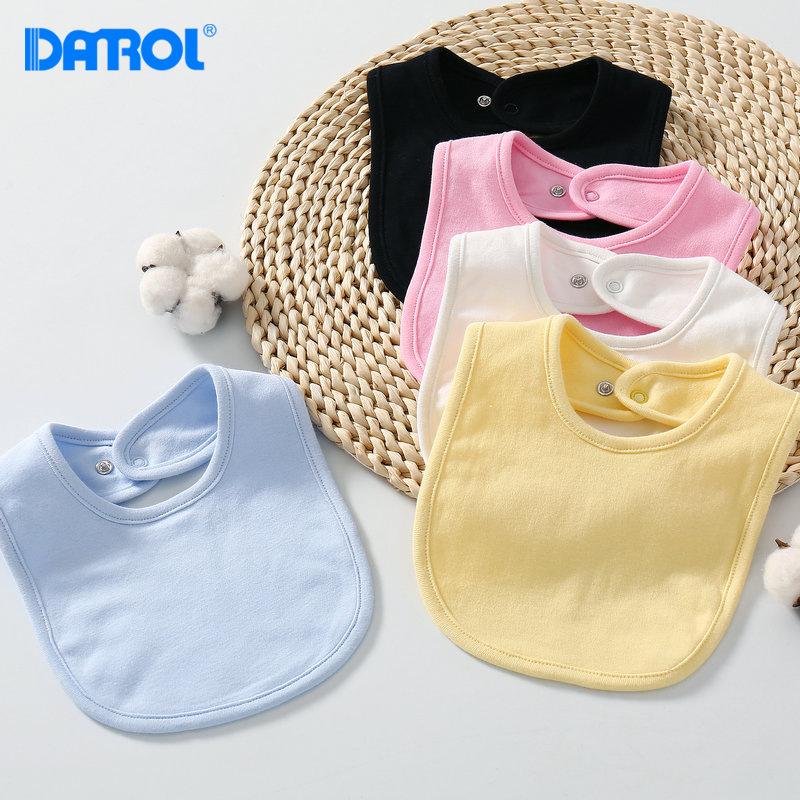 婴儿口水巾宝宝纯色双层新生儿围兜饭兜吸水纯棉围嘴按扣儿童围嘴
