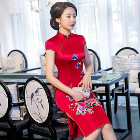 Chinese style vinegar cheongsam one piece embroidered cheongsam medium length embroidered cheongsam