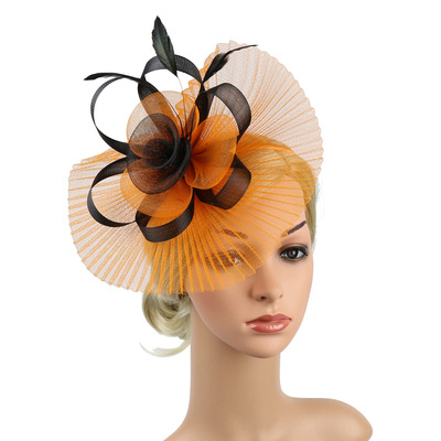 Custom mesh flower handmade headdress T-stage show feather lady hairpin horse racing club hair accessories