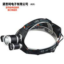 3燈T6充電強光頭燈 防水LED強光伸縮變焦頭燈戶外釣魚頭燈批發