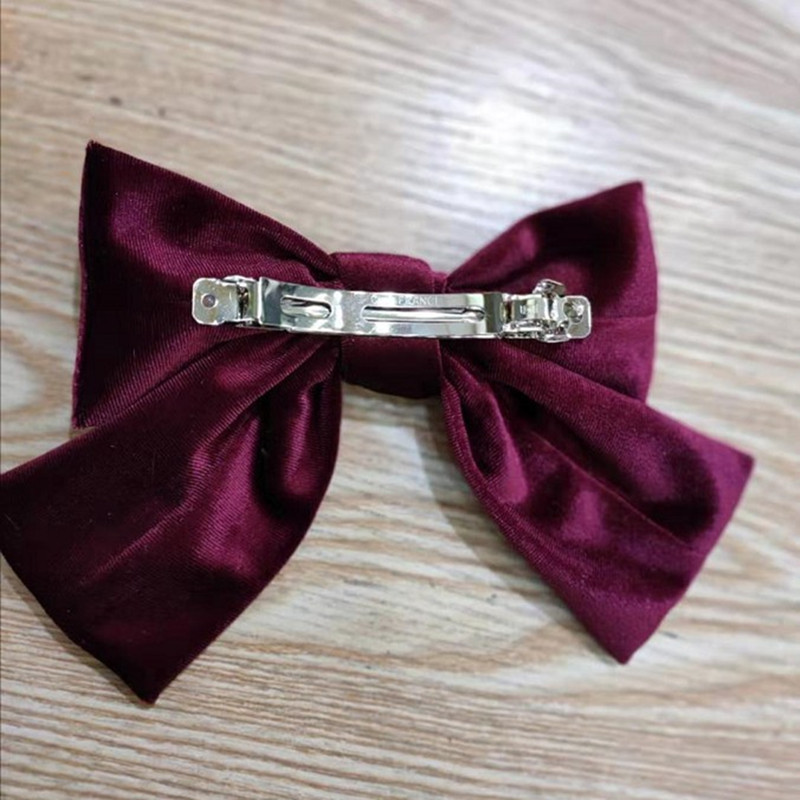 Korea hair clip new big bow hairpin high-end gold velvet spring clip fashion steel clip wholesale nihaojewelry NHUX222360