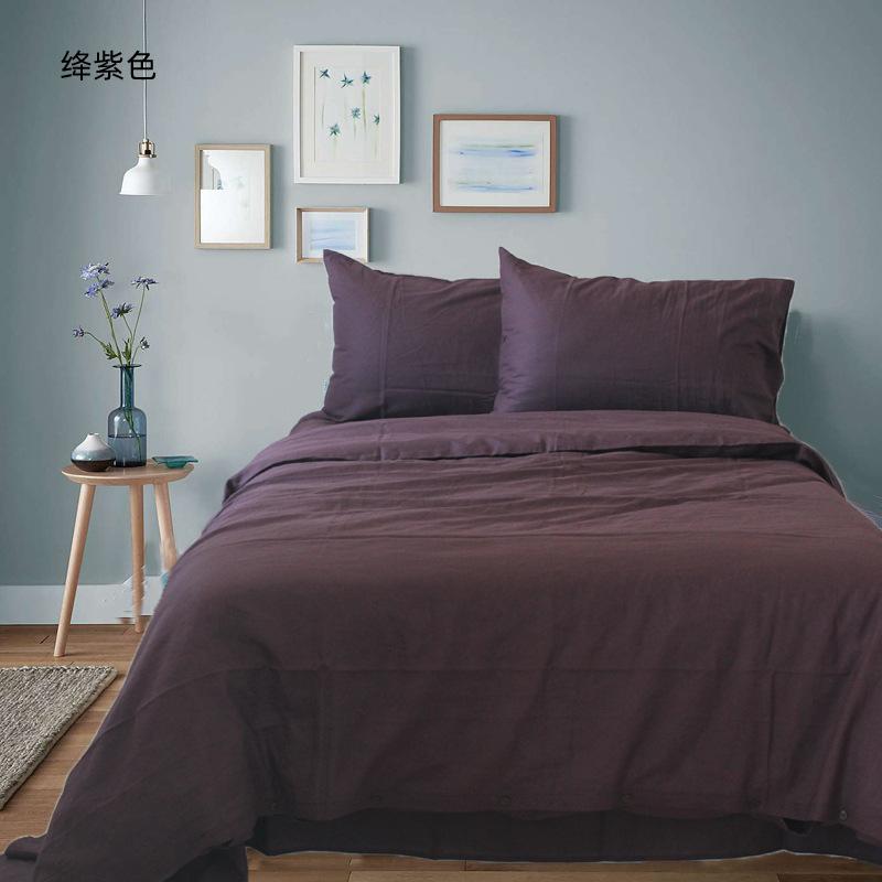 外贸尾料北欧ins风纯色床单款2.0米床四件套亚麻纯棉混纺水洗粗布