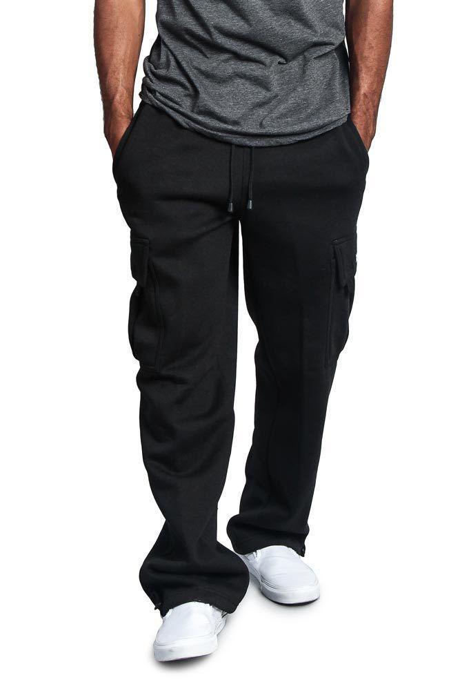 Men's Drawstring Elastic Waist Solid Color Pocket Trousers Loose Sweatpants