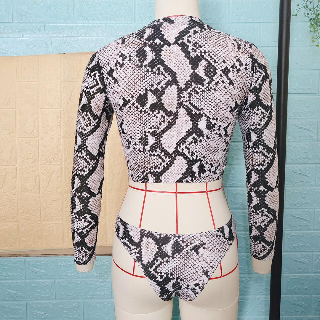 New snake zipper long sleeve bikinis NHNM140606