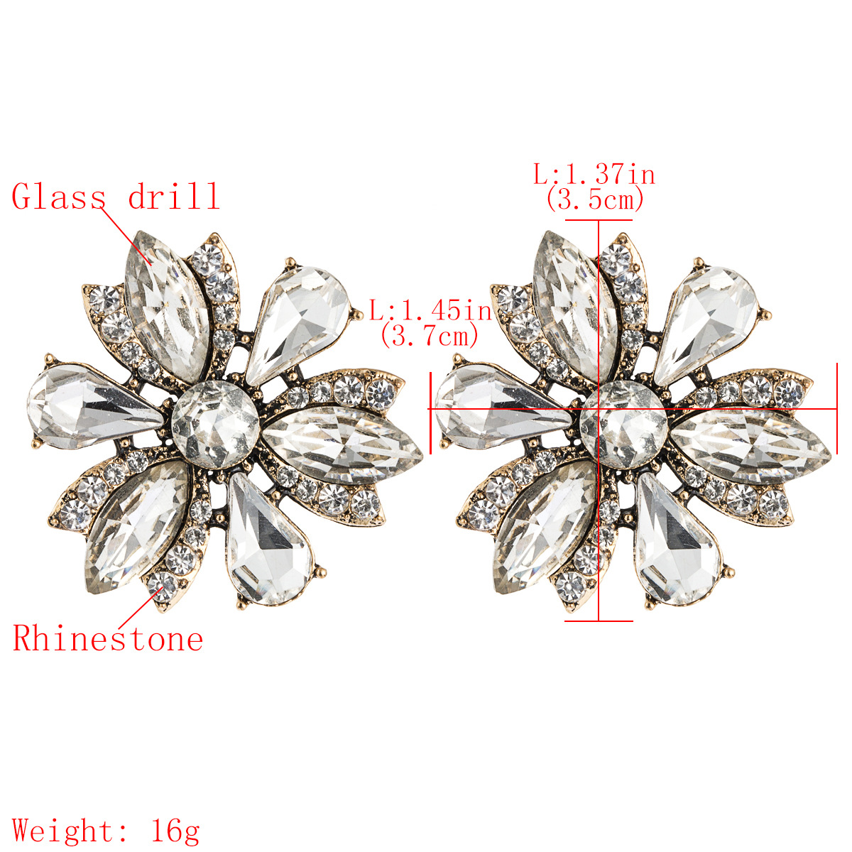 Fashion creative alloy diamond rhinestone glass diamond full diamond earrings women NHJE185815
