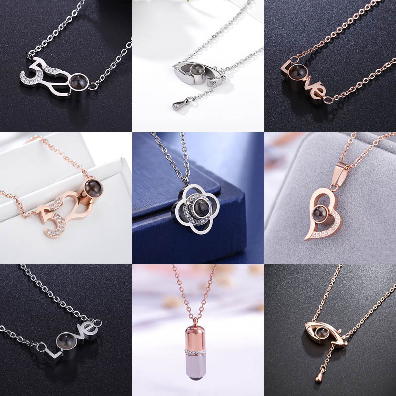 f3ebdc82577d89 Japanese and Korean new one hundred sentences I love you horse eye clavicle  chain rose gold popular necklace wild LOVE models
