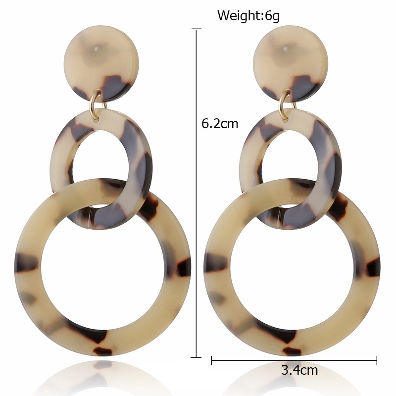 new acrylic acetate plate double circle color leopard exaggerated earrings NHXI243623