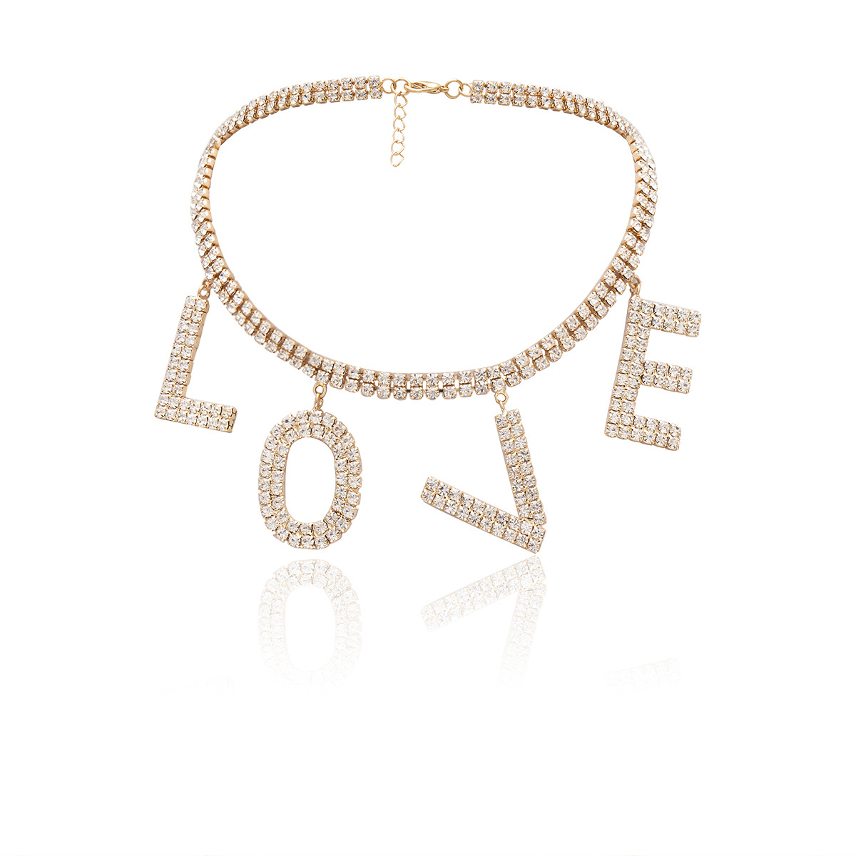 Creative love letter diamond necklace NHXR171347