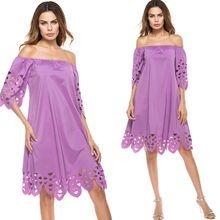 現貨歐美外貿亞馬遜速賣通一字領抹胸鏤空性感燒花純色連衣裙