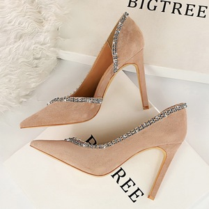 6678-1 the European and American wind fashion sexy party ultra-high with suede lighter V mouth diamond side hollow out w