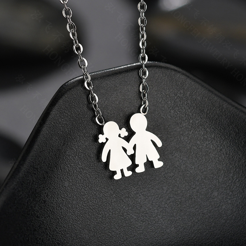 Unisex doll plating stainless steel Necklaces HF190418118193