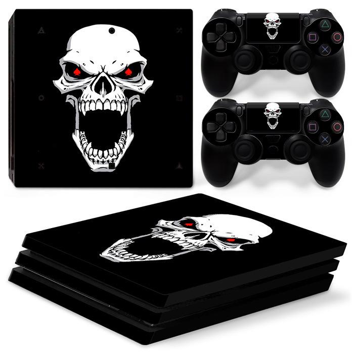 豬仔樂園~PS4 Pro游戲主機貼紙整套 恐怖骷髏頭 SKULL 貼膜 Skin Sticker