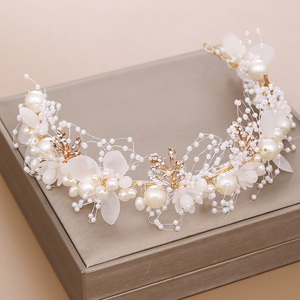 Hairpin hair clip hair accessories for women Mother hair with Pearl Flower Hair Band hand woven gold leaf headdress for children