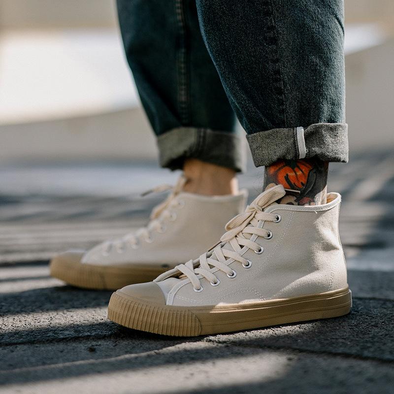 日本风高帮帆布鞋男士复古vintage硫化鞋百搭学生纯色鞋子潮鞋
