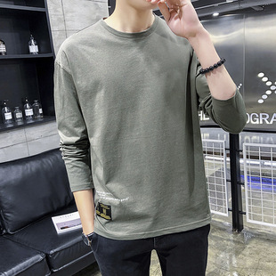 2019 spring and autumn new youth long-sleeved t-shirt spring round neck Korean version of the bottoming shirt pure cotton t-shirt top clothes trend