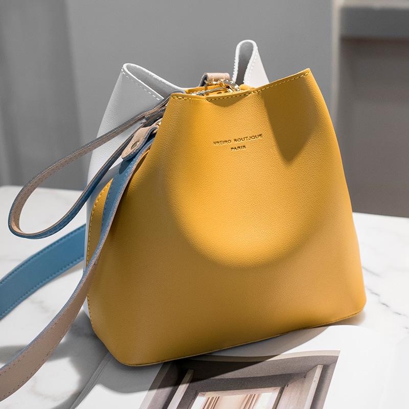 撞色水桶包2020韩版新款简约女包单肩斜挎包经典休闲小包包批发