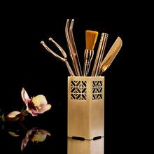 黃銅純銅茶道六君子茶具茶道擺件配件零配帶過濾筆刷茶夾杯托茶針
